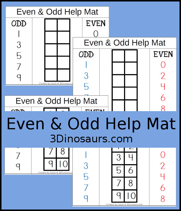 Free Even & Odd Help Mat - a great mat to help those kids that have trouble with even and odd math - 3Dinosaurs.com