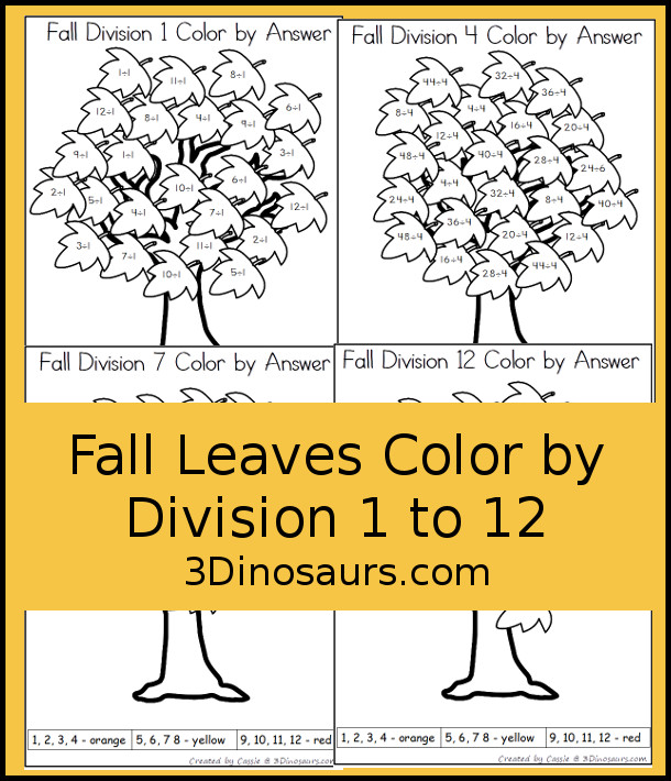 Free Fall Leaves Color by Division - no-prep printable to work on division 1 to 12 - 3Dinosaurs.com