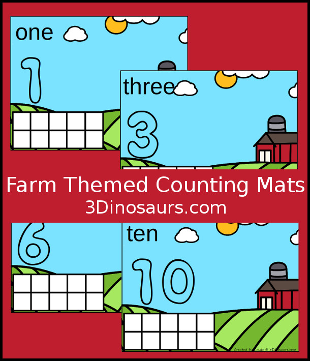 Free Farm Counting Mats: 1 to 10 - hands-on math with playdough number and ten frames - 3Dinosaurs.com