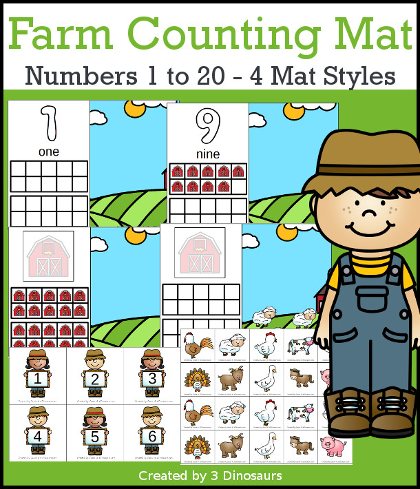Farm Counting Mats: 1 to 20 - hands-on math with playdough number and ten frames with 4 mat options - 3Dinosaurs.com