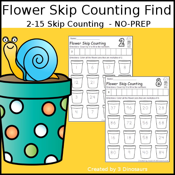 Flower Skip Counting Number Find - numbers 2 to 15 $- 3Dinosaurs.com