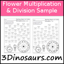 Flower Themed Multiplication & Division Sample - 3Dinosaurs.com