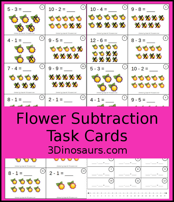 graphic relating to Free Printable Task Cards known as Flower Subtraction Undertaking Playing cards 3 Dinosaurs