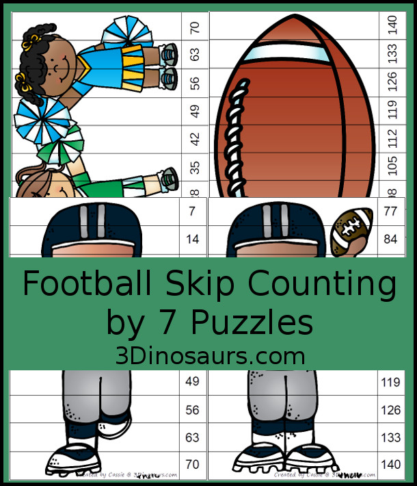 Free Football Skip Counting by 7 Puzzles - with 4 puzzles working on skip counting from 7 to 70 and 77 to 140  - 3Dinosaurs.com