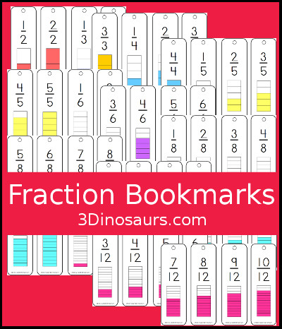 Fraction Bookmarks Printable - 3Dinosaurs.com