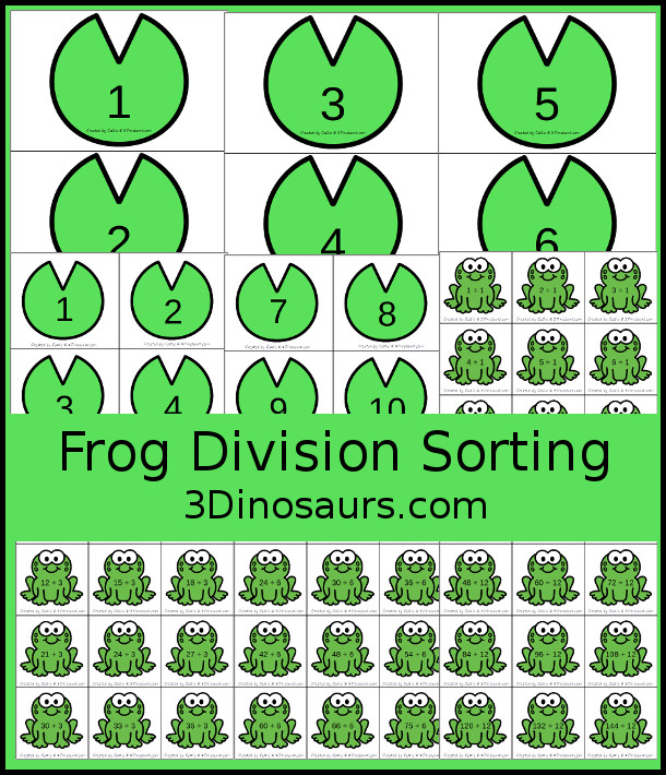 Free Frog Themed Division Sorting - work on division from 1 to 12 with two sizes of sorting mats with 12 cards for each number. There is also a recroding sheet.  - 3Dinosaurs.com