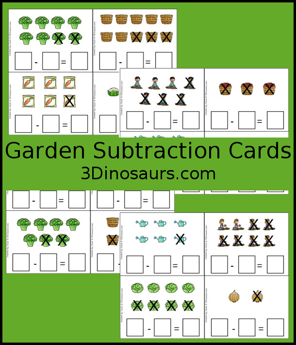 Free Garden Themed Subtraction Cards - 4 pages of subtraction cards for kids to fill out - 3Dinosaurs.com