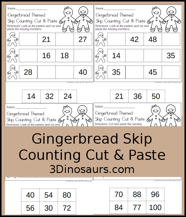 Free Gingerbread Skip Counting Cut & Paste - skip counting 2 to 12 with 4 pages of printables - 3Dinosaurs.com