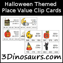 Halloween Place Value Clip Cards