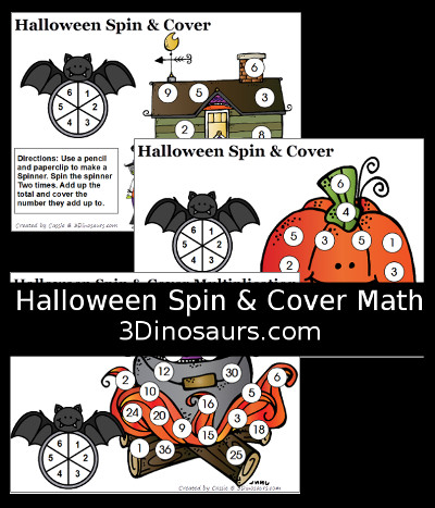 Halloween Spin & Cover Math - 3Dinosaurs.com