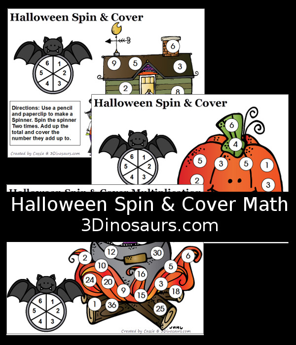 FREE Spin & Cover Halloween Math - counting, addition and multiplication - 3Dinosaurs.com