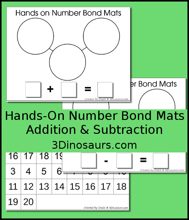 Free Hands on Number Bond Mats: Addition & Subtraction - 3Dinosaurs.com