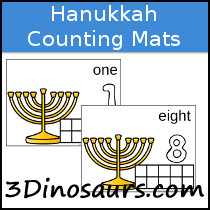 Hanukkah Themed Counting Mats Number 1 to 8