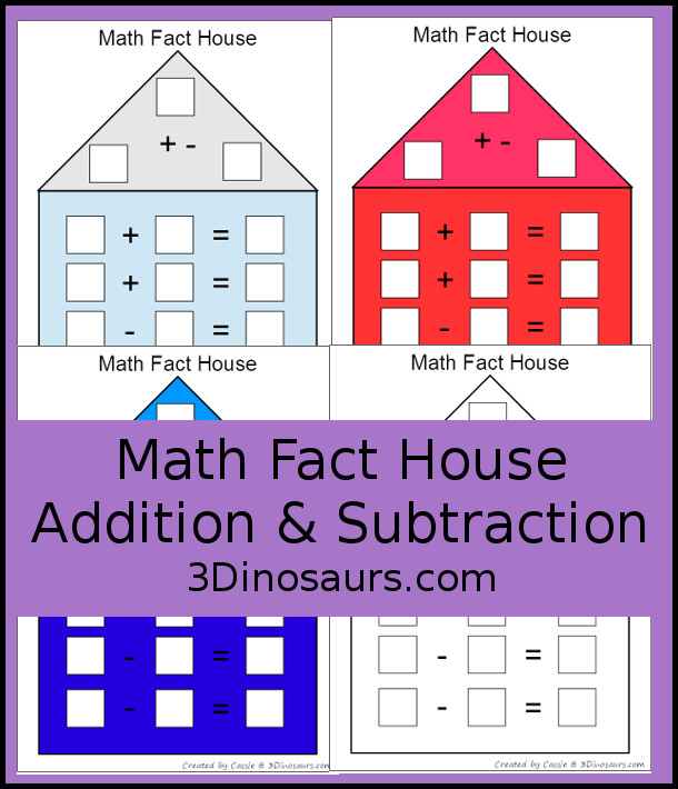 Free Math Fact House for addition and subtraction - 8 mats to pick from and use - 3Dinosaurs.com