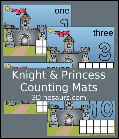 3 Dinosaurs - Knight & Princess Counting Mats Number 1 to 10