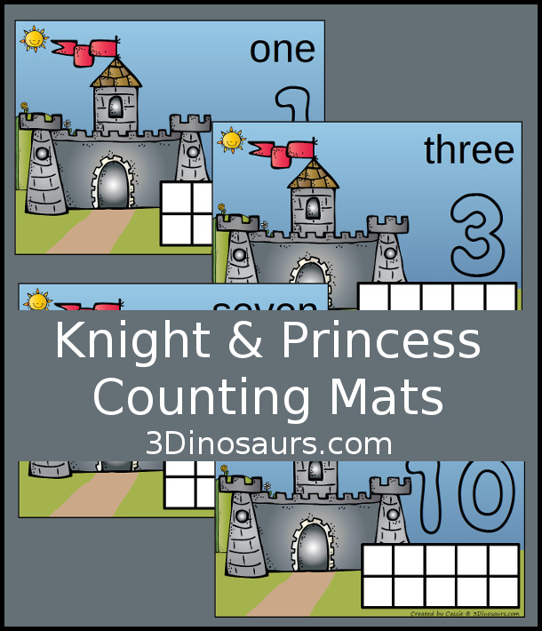 Free Knight & Princess Medieval Counting Mats: 1 to 10 - hands-on math with playdough number and ten frames - 3Dinosaurs.com