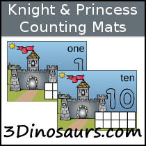 Knight & Princess Counting Mats 1 to 10