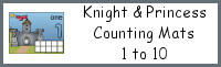 Knight & Princess Counting Mats Number 1 to 10