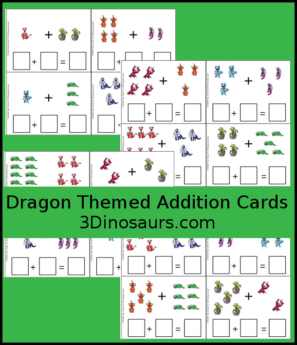 Free Roaring Fun Medieval Dragon Themed Addition Cards - 4 fun pages with 16 cards total - 3Dinosaurs.com