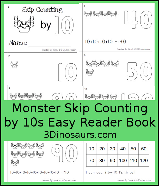 Free Monster Skip Counting by 10 Easy Reader Book - a fun easy reader book for kids to work on skip counting by 10 with monsters holding candy - 3Dinosaurs.com