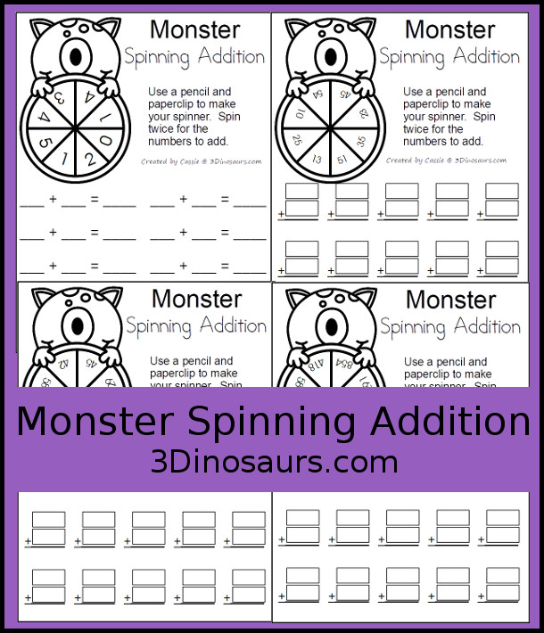 Free Monster Spinning Addition - Easy No-Prep Printable - 3 levels of math with single, double and triple numbers  - 3Dinosaurs.com