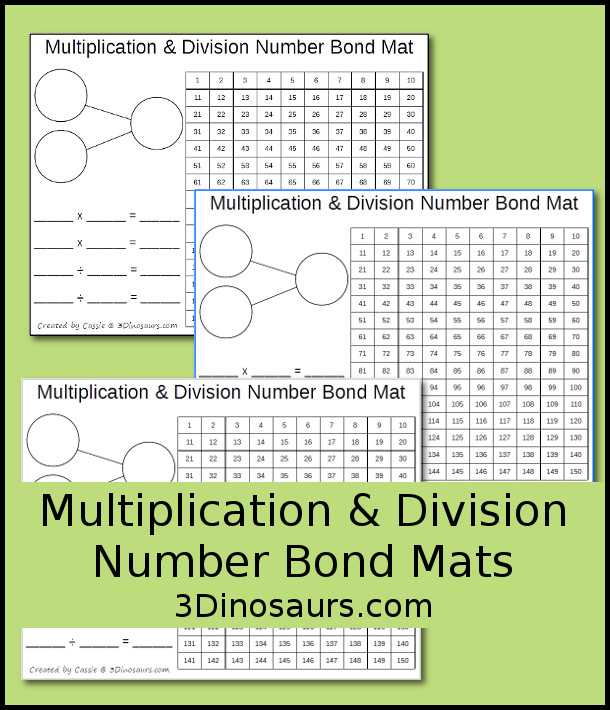 Multiplication & Division Number Bond Mat - hands on learning mat is 10 different colors - 3Dinosaurs.com
