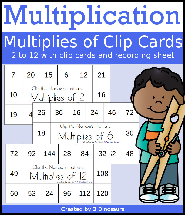 Multiplication: Multiplies of Clip Cards - a fun way to work on multiplication and skip counting numbers with clip cards and recording sheets. It works on number 2 to 12 - 3Dinosaurs.com