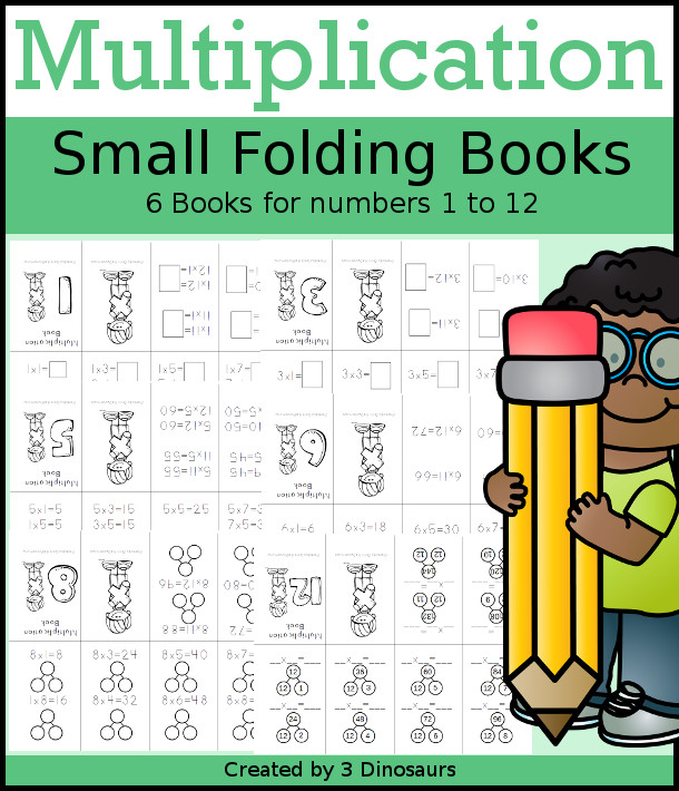 Multiplication Small Books - 6 different types of book options with filled in, missing number and numberbonds $ - 3Dinosaurs.com