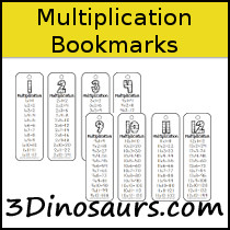 Multiplication Bookmarks Printable - 3Dinosaurs.com