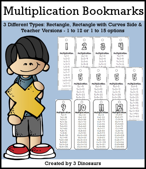 Multiplication Bookmarks- skip counting by 1 to 12 or 1 to 15 - 3 versions with a teacher print included $2 - 3Dinosaurs.com