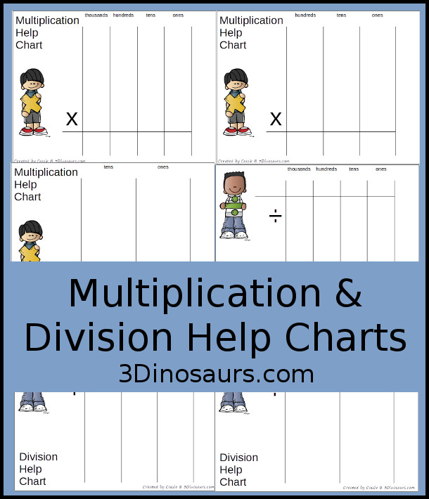 Free Place Value Mats for Multiplication & Division - 3 mats for multiplication and division with different levels of place value - 3Dinosaurs.com