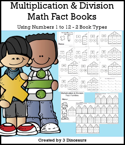Multiplication & Division Math Fact Books Selling 12 books with 1 review book - 3Dinosaurs.com