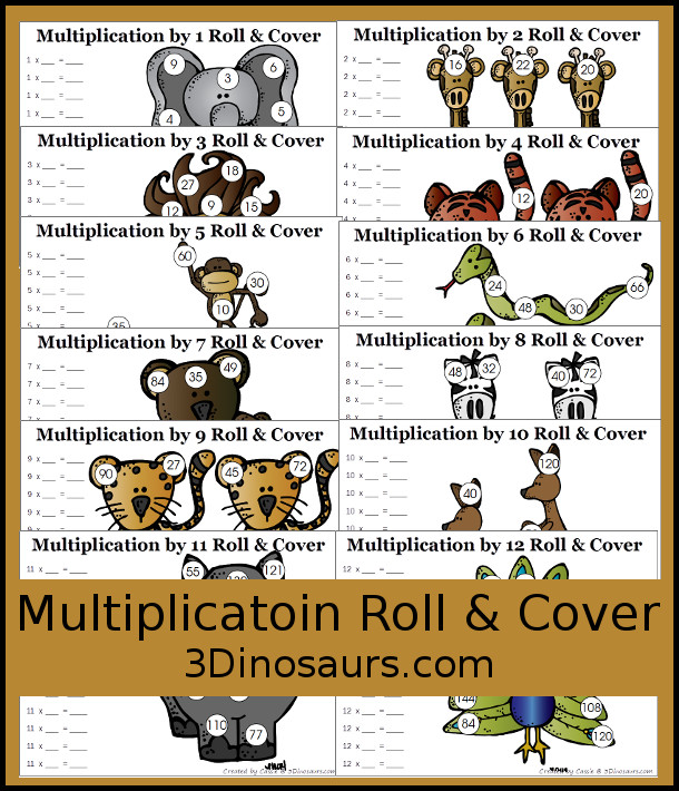 Free Multiplication Roll & Cover Printable - a fun zoo-themed math activity that kids can use to work on multiplication from 1 to 12 - 3Dinosaurs.com