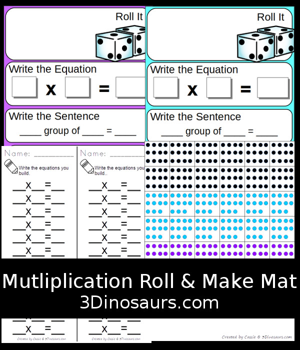 Free Multiplication Roll & Make Mat - 16 pages of printables with record sheets, building mats and counters - 3Dinosaurs.com