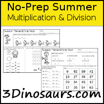 No-Prep Summer Themed Multiplication & Division