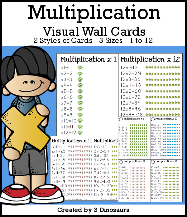 Multiplication Visual Wall Cards an easy way to look and learn multipliation arrays - 3Dinosaurs.com