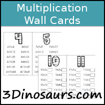 Multiplication Wall Cards Printable - 3Dinosaurs.com