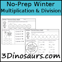 No-Prep Winter Themed Multiplication & Division