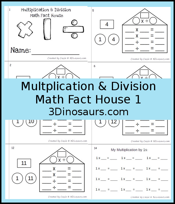 Free Multiplication & Division Math Fact House Number 1 Easy Reader Book - contains 9 pages - 3Dinosaurs.com