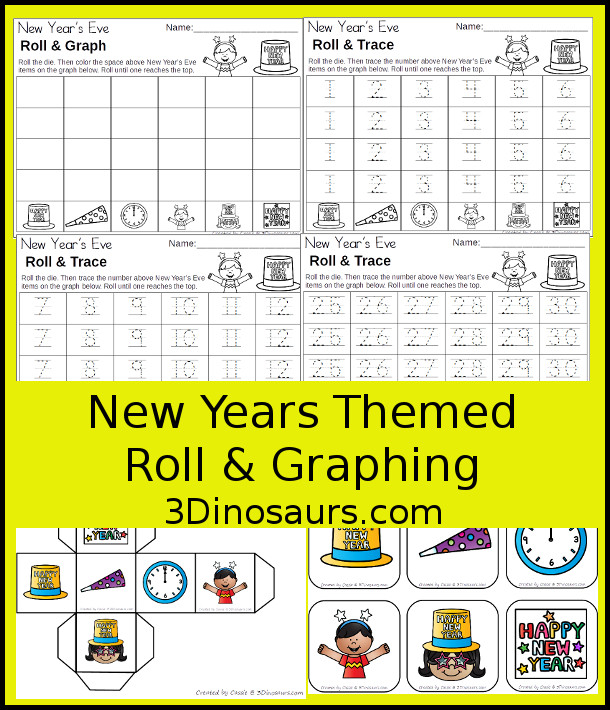 Free New Years Graphing - with graphing or tracing numbers options - 3Dinosaurs.com #graphing #mathforkids #kindergarten #prek #freeprintable
