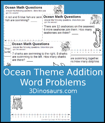 3 Dinosaurs - Ocean Themed Addition Word Problems