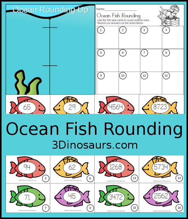 Free Ocean Animal Rounding by Place Value - ones, tens, hundreds, thousands with sorting mat and recording sheets - 3Dinosaurs.com