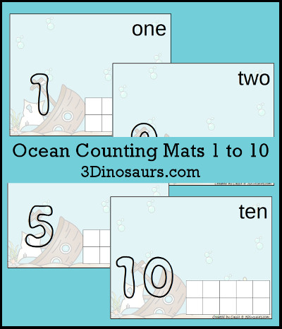 Ocean Counting Mats Number 1 to 10 - 3Dinosaurs.com