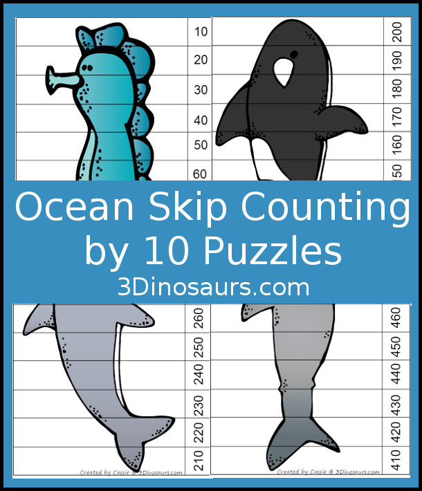 Free Fun Ocean Themed Skip Counting by 10 Puzzles - 4 pages of puzzles with template - 3Dinosaurs.com