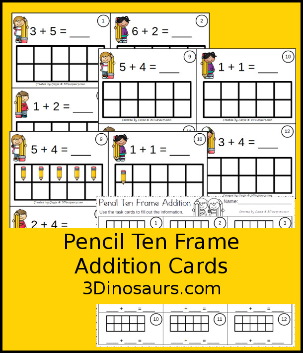 Free Pencil Ten Frame Addition Cards - 12 cards with recording sheet with two styles of cards - 3Dinosaurs.com