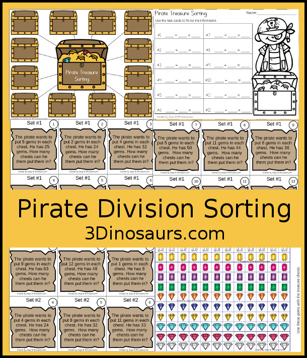 Free Pirate Treasure Division Sorting Task Cards - with sorting mat, recording sheet and 2 sets of task cards - 3Dinosaurs.com