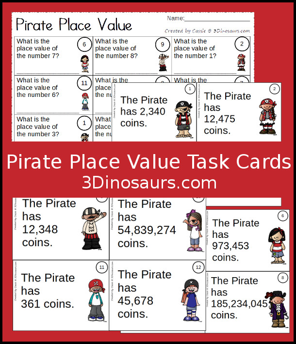 Free Pirate Themed Place Value Task Cards - 12 cards and one page to record answers - 3Dinosaurs.com