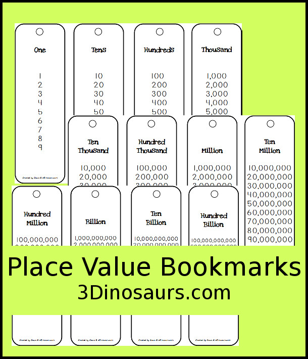 Free Place Value Bookmarks - for ones through hundred billion - 3Dinosaurs.com