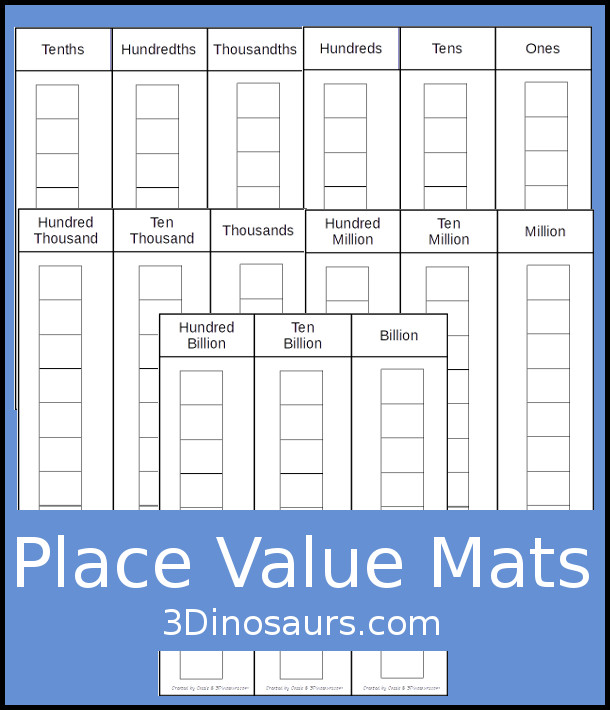 picture about Place Value Strips Printable identified as Palms-Upon Mastering with Spot Cost Mats Playing cards 3 Dinosaurs