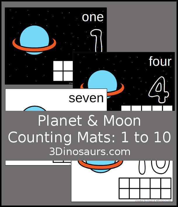 Free Planet & Moon Counting Mats: 1 to 10 - hands-on math with playdough number and ten frames - 3Dinosaurs.com